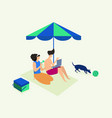 couple vacation in beach vector image vector image