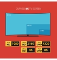Curved 8K screen with set of HD stickers vector image vector image