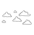 cute cartoon contour clouds isolated on white vector image vector image