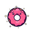 cute kawai pink donut with topping and little vector image