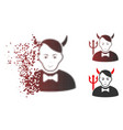 dissolved pixelated halftone satan icon with face vector image vector image