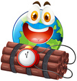 Earth with happy face and time bomb vector image