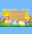 easter eggs sign vector image vector image