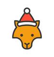 fox wearing santa hat outline icon editable stroke vector image vector image