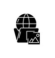 global cases black icon sign on isolated vector image vector image