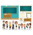 interior classroom with desk and blackboard vector image