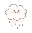 kawaii cloud rain weather cartoon cute vector image