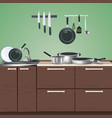 kitchen furniture culinary utensils vector image vector image