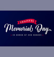 Memorial day usa lettering blue poster