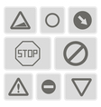 monochrome icons with traffic signs vector image