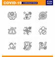 novel coronavirus 2019-ncov 9 line icon pack vector image vector image