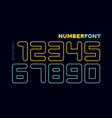 numbers font sport font with and numeric vector image