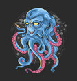 octopus with alien face and tentacles monster vector image
