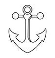 outline metal anchor equipment nautical security vector image vector image