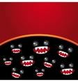 Party card Monsters eyes and toothy mouth on black