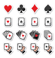 Playing cards poker gambling icons set vector image vector image