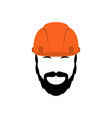 portrait of a builder in an orange helmet vector image vector image