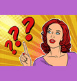question mark pop art woman vector image