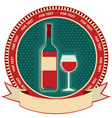 Red wine bottle label symbol background vector image vector image