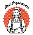 retro woman with a set tea vector image