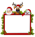 santa claus deer and snowman with blank sign vector image vector image