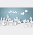 santa claus on sky coming to city vector image vector image