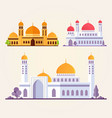 set islamic mosque building flat vector image