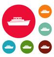 ship design icons circle set vector image vector image