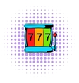 Slot machine jackpot icon comics style vector image vector image