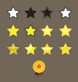 stars reward style and star medal on brown vector image vector image
