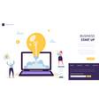startup creative idea start landing page template vector image