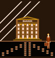 successful young businessman near a bank building vector image vector image