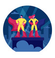 superhero couple man and woman wearing yellow vector image vector image
