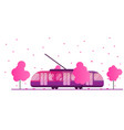 tram and spring season flowering trees and eco vector image vector image