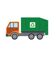 trash truck with recycle symbol - green lorry vector image vector image