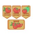 Vintage vegetables ketchup sauce label vector image