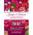 wedding rings cake and love hearts invitation vector image vector image