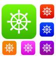 wooden ship wheel set color collection vector image vector image