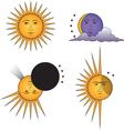 smiling sun angry sun moon vector image