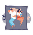 a young family sleeps with a badad and mom vector image vector image
