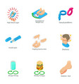 ailment of body icons set isometric style vector image vector image