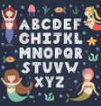 alphabet poster with cute mermaids wall art vector image vector image