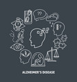 alzheimer s symptoms round concept poster in line vector image vector image