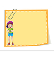An empty paper template with a smiling young boy vector image vector image