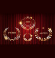 award signs shine laurel wreaths on red curtains vector image