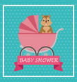baby shower card with cute chipmunk in cart vector image vector image