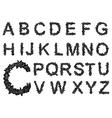 Black floral alphabet letters set vector image