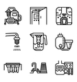 Black line icons for water filters vector image