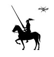 black silhouette of knight on white background vector image vector image