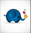 blue elephant cartoon with hearts icon vector image